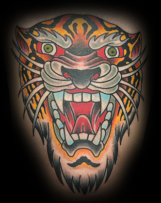 American Traditional Tiger Nature Tattoo Best Shop in Charleston