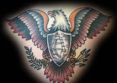 American Traditional Eagle on Stomach Best Shop in Charleston