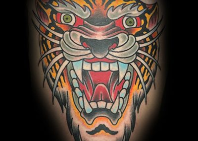 American Traditional Tiger Tattoo Best Shop in Charleston