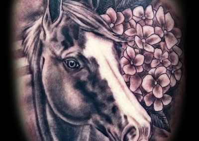Black and Grey Horse Tattoo by Shane Watkins